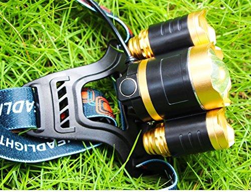 3000 Lumen Scheinwerfer, Taschenlampe 3 XM-L T6 LED, Wand-Ladegerät und der Akku, Wandern, Camping, Reiten, Angeln, Jagen, Outdoor-Abenteuer. - 3