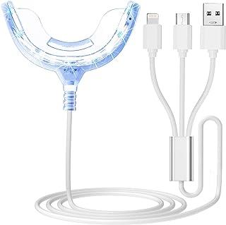 چراغ شتاب دهنده سفیدکننده دندان ، 16 برابر نور LED آبی قوی تر ، سینی دهان سینی های تقویت کننده سفید کننده دندان متصل به iPhone / Android / Type-C برای استفاده در منزل