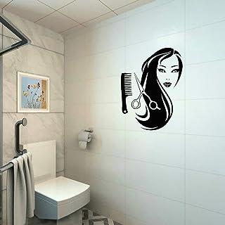 RTLJN Wall stickersPeluquería Cabello Largo Etiqueta de la Belleza Decoración del Fondo del Hogar Etiqueta de