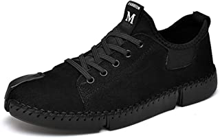 XUJW-Shoes, Classic Skate Sneakers for Men PU Leather Outdoor Activities Hiking Walking Casual Shoes Anti-Slip Flat Lace Up Round Toe Stitching Driving (Color : Black, Size : 8.5 UK)