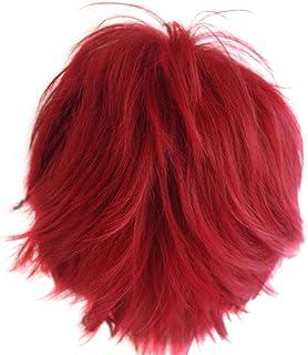 Alacos Anime Wig Burgundy Wine Red Hair Cosplay Man Short Anime Wig +Wig Cap