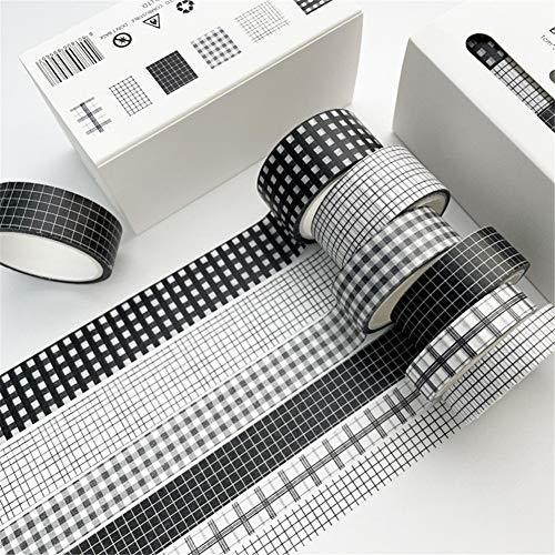 LIZHOUMIL 5 m/roll 6 rollos Washi Tape Set Candy Color Cintas decorativas para bricolaje Craft Wrapping Scrapbook negro a cuadros