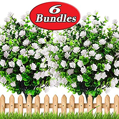 AXYLEX Artificial Flowers Outdoor Spring - 6PCS Outside Face Plants Fake Greenery UV Resistant No Fade Faux Daffodils Bundles Shrubs Home Garden Porch Patio Decoration Office Indoor (White)