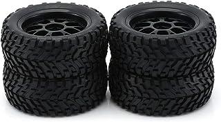 sdfghzsedfgsdfg 4 st hjul däck gummidäck med plastnav för 1/10 skala RC korträtt lastbil halkskydd yta gummi däck RC tillb...