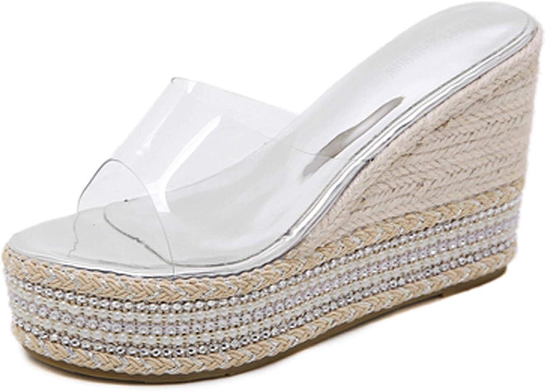 Women Summer shoes Leisure Platform Wedges Slippers Women PVC Transparent Heels 10 cm Heel Pearl for Women