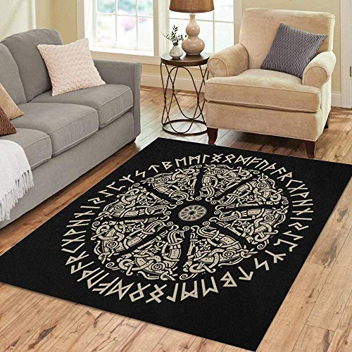 Marlon Kitty Area Rug Nordic Ancient Scandinavian Shield Wikinger und Runen Black Emblem Bodenteppiche Teppich