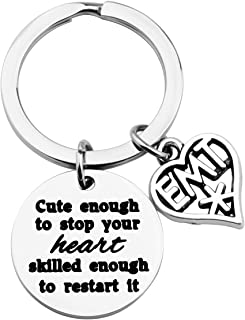 FOTAP EMT Keychain Cute Enough to Stop Your Heart Skilled Enough to Restart It Keychain EMT Graduation Gift Medical Technician Gift (Restart Keychain)