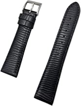 20mm Black Genuine Leather Watch Band | Tail Lizard Grain, Lightly Padded Replacement Wrist Strap that brings New Life to ...