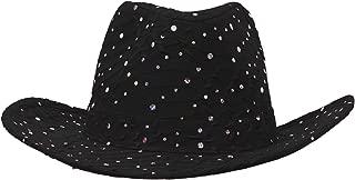 SS/Sophia Glitter Sequin Trim Cowboy Hat