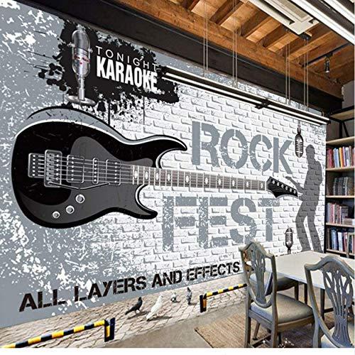 Wandverf, personaliseerbaar, 3D-muurbeschildering, muziek, rok gegraveerd, in het Engels, nostalgisch, 250 cm x 175 cm