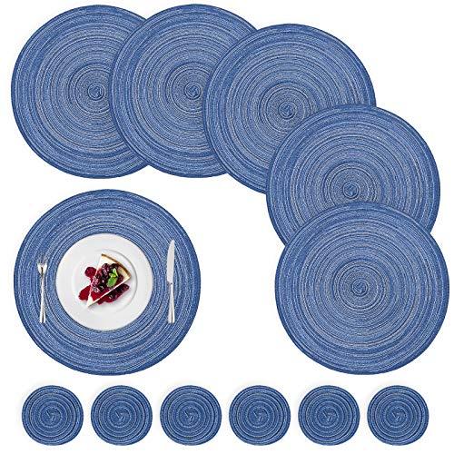12 tovagliette rotonde in cotone resistente al calore intrecciate tovagliette antiscivolo e lavabili, set di tovagliette e sottobicchieri, per interni ed esterni, colore: blu