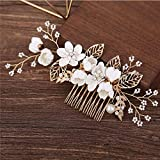 Bride Wedding Hair Comb Flowers Pearl Bridesmaids Hair Piece Accessories Vintage Bridal Hair Clips for Women and Girls (White)