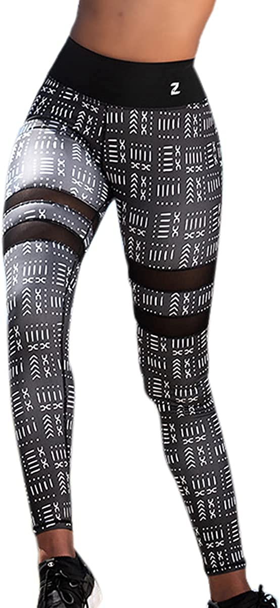Zawadi Sport African Print Women Mesh Leggings - High Waisted Yoga Workout Pants
