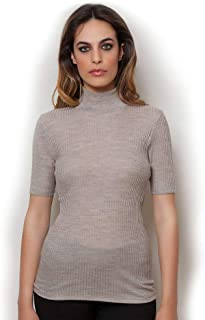 EGI Exclusive Collections Merino Wool Blend Top with Short Sleeves. Proudly Made in Italy.