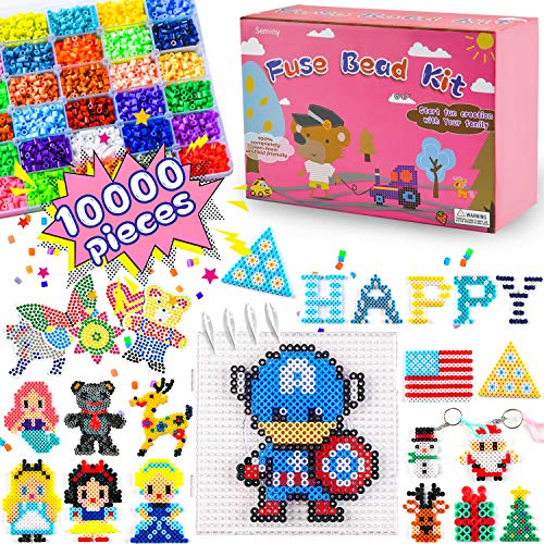 Fuse Beads Kit Iron Beads Perler Beads Melty Craft Kit-Seminy 5mm 10,000 pcs 36 Colors Beads Craft Set for Kids Including 8 Pegboards,Ironing Paper & Chain Accessories Christmas Birthday Gift