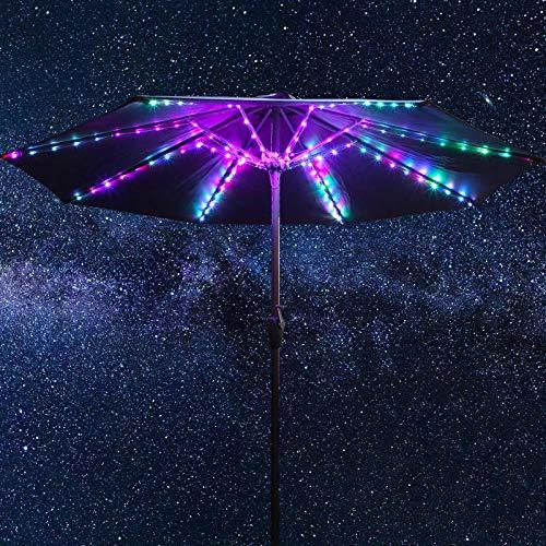 Luces de Cadena de Sombrilla de Patio, 104 LEDs Brillantes 12 Modos Luz de Sombrillas sin Cuerda Alimentada por Batería USB, Luces de Poste Impermeable de Control Remoto al Aire Libre