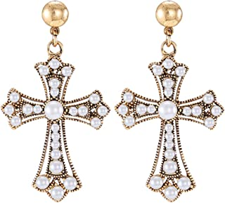 LILIE&WHITE Vintage Cross Drop Earrings with Imitation Pearls, Victorian Retro Christian Cross Earrings For Women, Fashion Jewelry Hypoallergenic Post