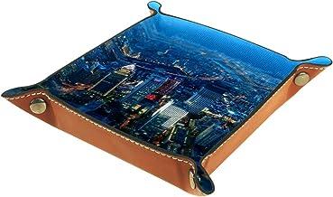 KAMEARI Skórzana taca noc miasta wzór klucz telefon moneta pudełko skóra bydlęca taca na monety praktyczne pudełko do prze...