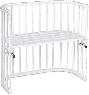 babybay Original Beistellbett aus massivem Buchenholz für Tag und Nacht I Kinderbett Höhe verstellbar & umweltfreundlich I mitwachsendes Babybett Weiß lackiert