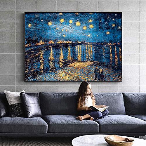 mmzki Van Gogh Estrella Noche Lienzo Pintura en la Pared impresionista Estrella Noche Lienzo Cuadro para la Sala de Estar