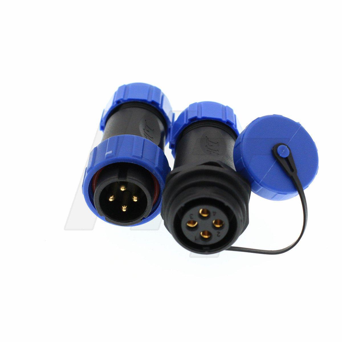HangTon HE17 4 Pin Connector Male Female Power Plug Outdoor Plastic IP68 Waterproof Aviation