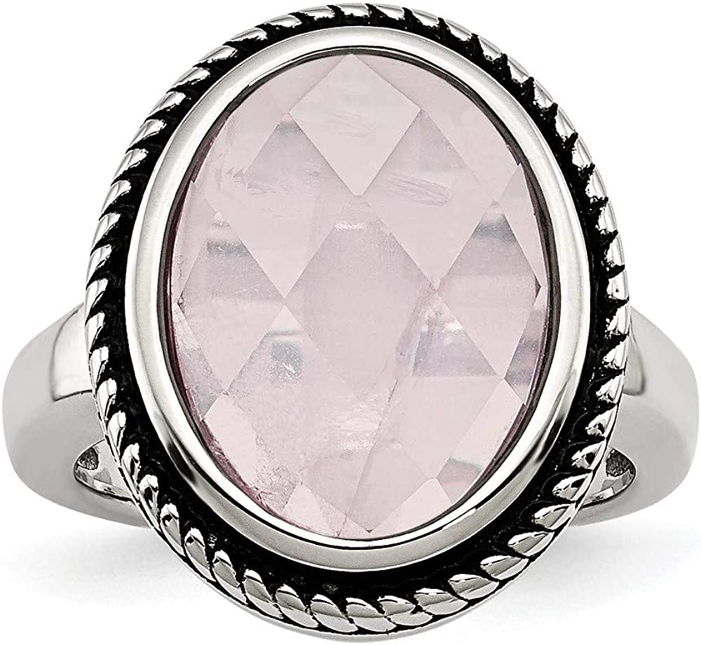 ICE CARATS Stainless Steel Rose Quartz Band Ring Natural Stone Fashion Jewelry for Women Gifts for Her