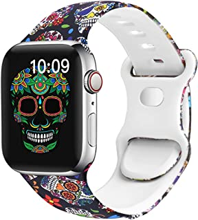 OriBear Watch Band Compatible with Apple Watch Band 38mm 40mm Elegant Floral Iwatch Bands for Women Soft Silicone Solid Pa...