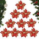 MEJOSER 10pcs Flores Navidad Artificiales Grandes 22cm con Purpurina Flores Pascua Ornamentos Adornos árbol Navidad Guirnaldas Adornos Navideños Manualidades Decoración Fiesta Rojo