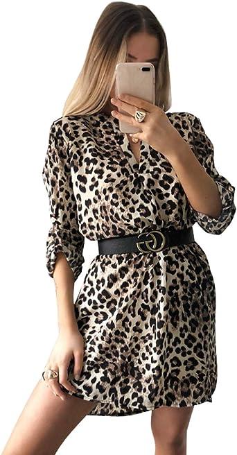 JLTPH Mujeres Vestidos con Cuello en V Camisa Vestido de Manga Larga Estampado de Leopardo de Serpiente Vestido Vestidos Cortos Sin Cinturón Camiseta ...