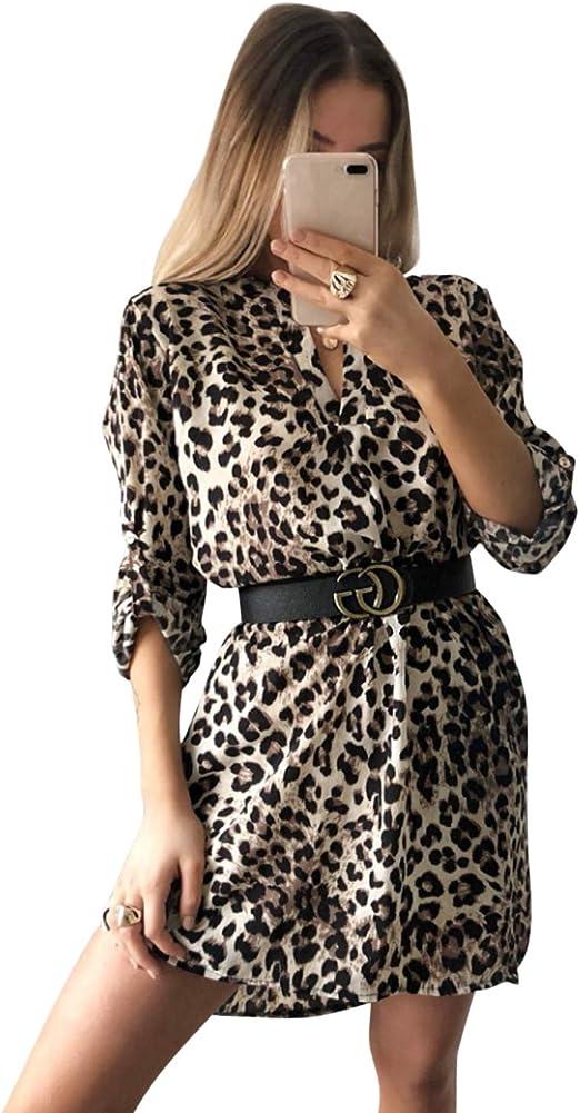 Jltph Frauen V Ausschnitt Langarmliges Schlangenleder Leopardenmuster Hemdkleid Kurzes Kleid Ohne Gurtel Casual T Shirt Tops Bluse Minikleid Tunikakleid Strand Sundress Kleid Amazon De Bekleidung