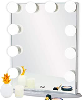 Posh Hollywood Vanity Mirror, Ultra Slim Frame Lighted Makeup Beauty Tabletop Mirror, 10 Daylight Dimmable Large LED Light Bulbs, White