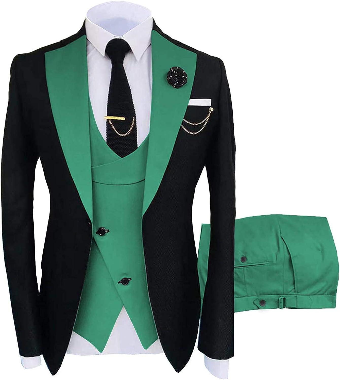 Mens Suit Slim Fit 3 Pieces Prom Tuxedos for Wedding Groomsmen Blazer+Vest+Pants