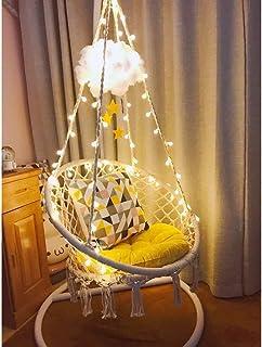 Silla Colgante de macramé con luz LED Silla Tipo Hamaca con luz LED de 39 pies para Interior/Exterior Patio de la casa Patio Terraza Jardín Lectura Ocio Descanso Tamaño Grande (65x85cm)