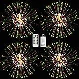 Paquete de 4 luces colgantes de fuegos artificiales, 120 LED, 8 modos, con pilas, multicolores, con cadena de luces Starburst con control remoto para la decoración del jardín al aire libre del hogar