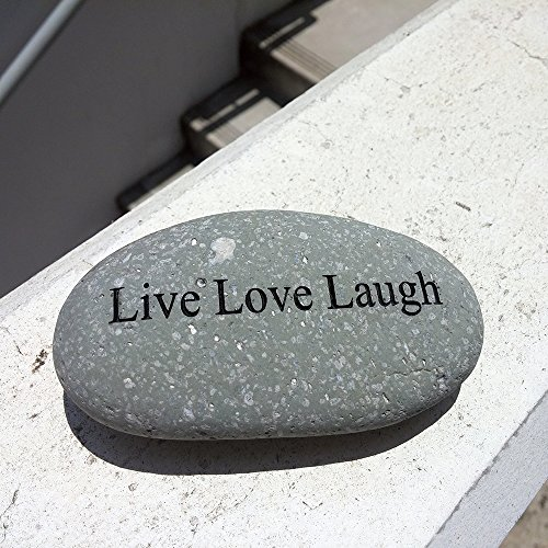 Garden Age Supply Live Love Laugh Engraved Stone Pebble River Rock Stone