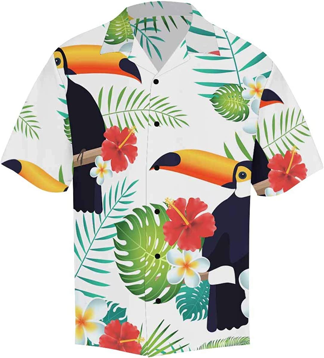 InterestPrint Men's Casual Button Down Short Sleeve Watercolor Tropical Flamingo Hawaiian Shirt (S-5XL)