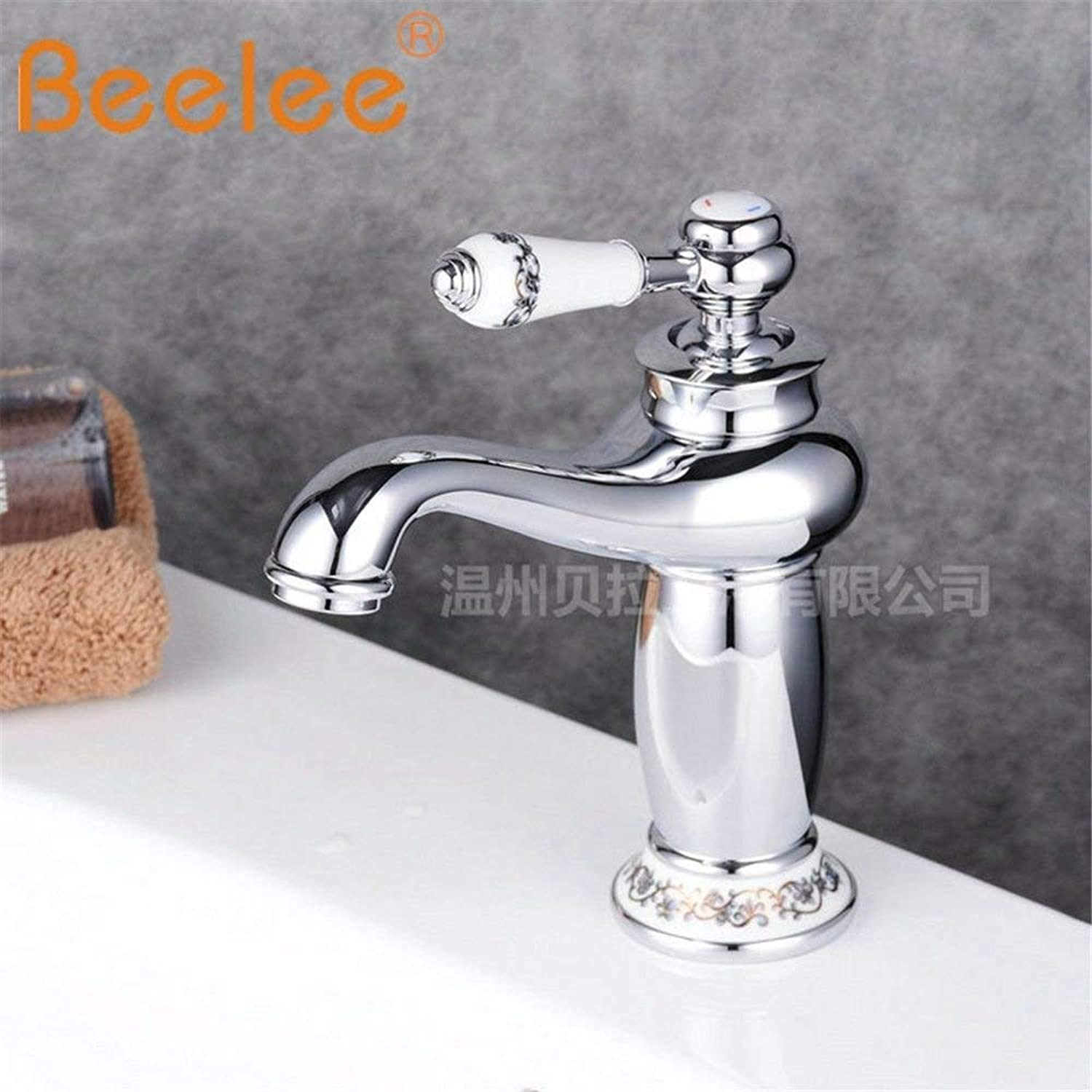 NANIH Home Sink Mixer Tap Bathroom Kitchen Basin Tap Leakproof Save Water Retro Minimalist Ceramic Brass Hot And Cold Single Handle Single Hole