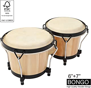 """MUSICUBE Bongo Drum Set, 2 Sets 7"""" and 8"""" Percussion Instrument, FSC Wood and Metal Drum for Kids Adults Beginners Professionals with Tuning Wrench"""