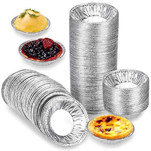 Oeuf Moule à Tarte, en Feuille d'aluminium Cuisson Bake Muffins Cupcake Tin Moule Rond Jetable Poêle de Tarte Moule en Feuille Jetable.(250 Pièces )