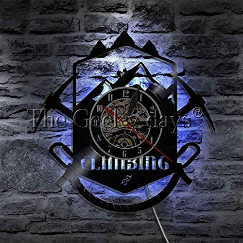 CXM WLONG 'ART Escaladores de Roca Reloj de Pared de Escalada Amante del Deporte Regalo Disco de Vinilo LED Borde Iluminado Logotipo Lámpara de Pared de Escalada Montañismo con luz Nocturna LE