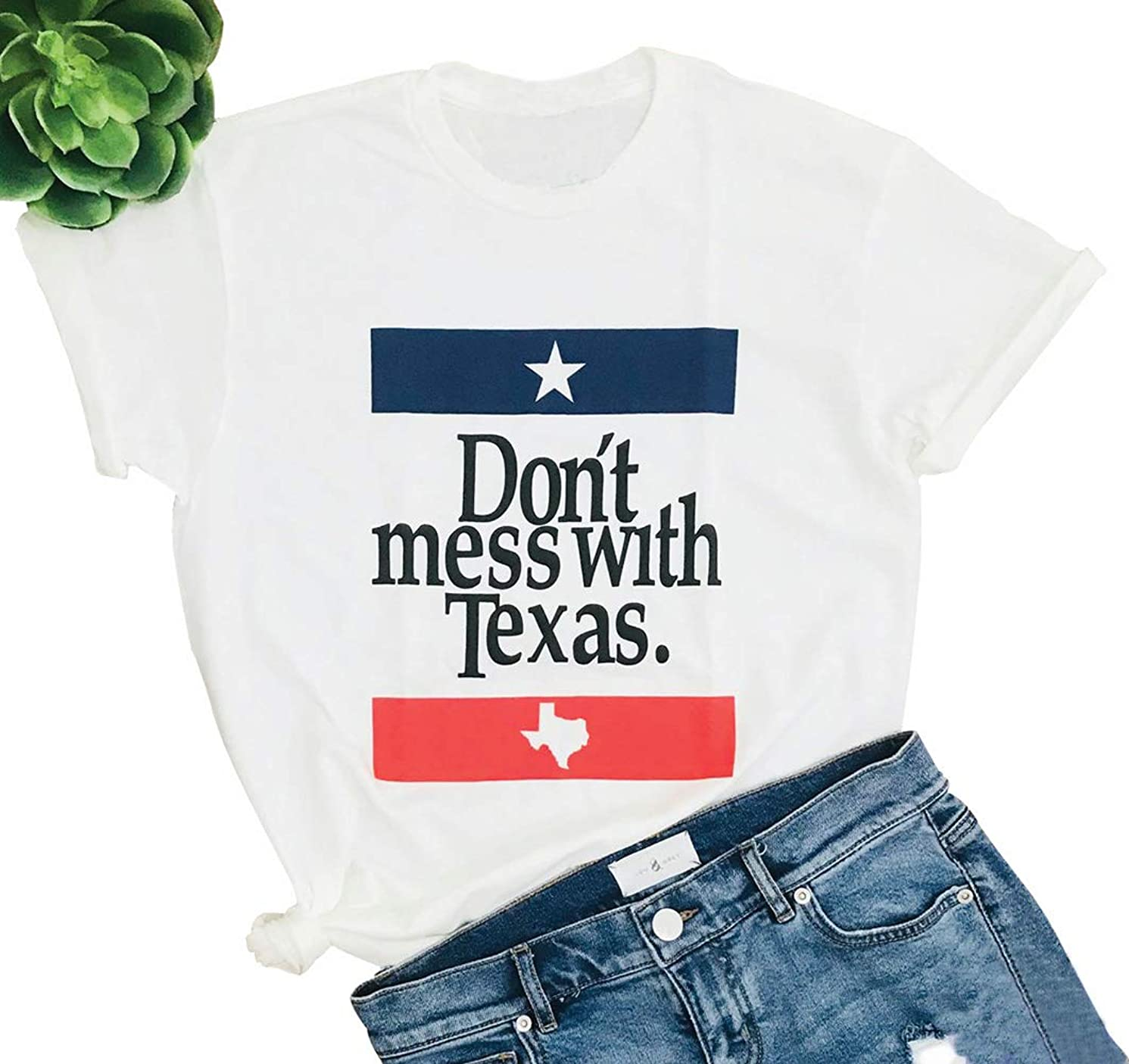 HDLTE Women Casual Don't Mess with Texas Shirt Letters Funny Graphic Short Sleeve T-Shirts Tee