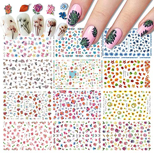 Kalolary 12PCS Nail Art Stickers, Self Adhesive Spring Summer 3D Flowers and Leaves Nail Stickers Decals Manicure Decoration for Women Girls Kids Manicure DIY or Nail Salon