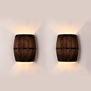 Newrays 2 paquetes Antique 2 Tomacorrientes Wood Wine Barrel Aplique de pared Accesorio de iluminación Arriba y abajo Lámparas de pared interiores para el área de la barra Tema Steampunk