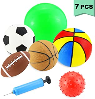Oruuum 6PCS Multicolored Professional Set-Ball Games Grasp The Ball by Hand  Basketball   Football   Rugby   Massage Ball  Ball Racket Colour underlined Basketball