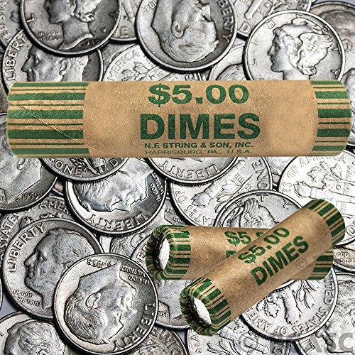 180 Preformed Dimes Tubes Paper Coin Wrappers 10 Cent Shotgun...