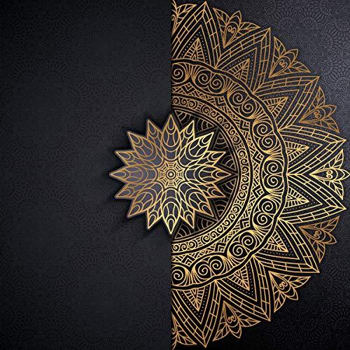 Forwall Fototapete Vlies Tapete Wanddeko Mandala Orient - Schwarz Gold Moderne Wanddekoration Wandtapete Vliestapete 13504V8 368cm x 254cm Schlafzimmer Wohnzimmer
