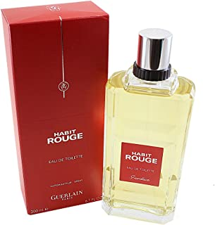 Habit Rouge By Guerlain For Men. Eau De Toilette 6.7 Ounces
