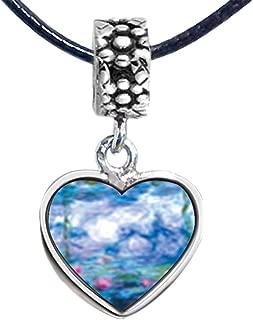 Silver Plated Monet's Nympheas Water Lilies Photo Flower Head Dangle Heart Bead Charm Bracelets