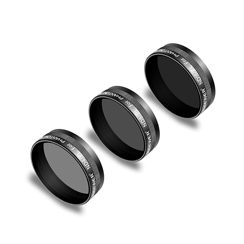 Neewer 3 Pieces Lens Filter Kit for DJI Phantom 4 Pro Drone Quadcopter Includes: ND4/PL, ND8/PL, ND16/PL, Made of Multi Coated Optical Glass Waterproof Aluminum Alloy Frame (Black)