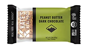 Kate's Real Food Organic Energy Bars, Non-GMO, All-Natural Ingredients, Gluten-Free and Soy-Free Healthy Snack with Natural Flavors, Peanut Butter and Dark Chocolate (Pack of 12)